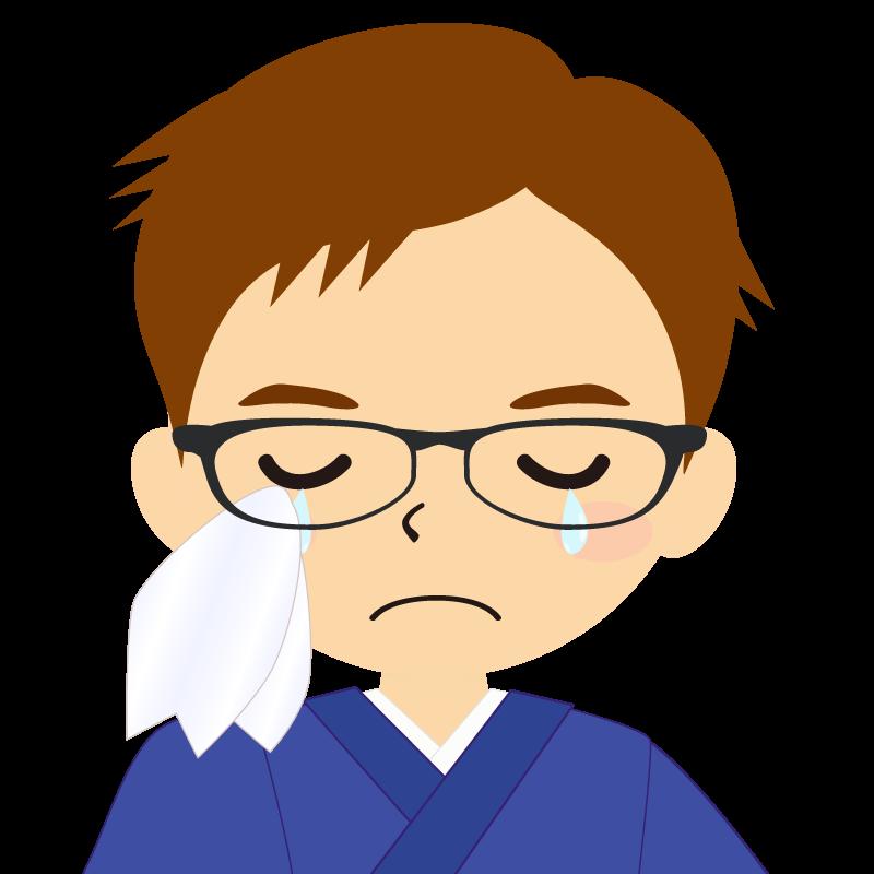画像:和服の男性(着物)のフリー素材イラスト 短髪 茶髪 眼鏡 涙