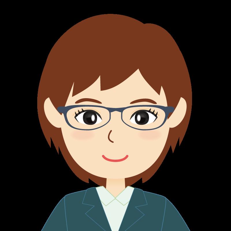 画像:会社員・スーツ・ショート・女性 眼鏡