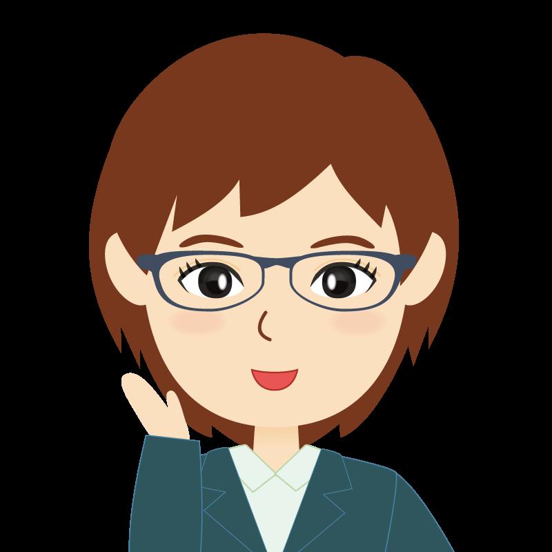 画像:会社員・スーツ・ショート・女性 眼鏡 笑顔