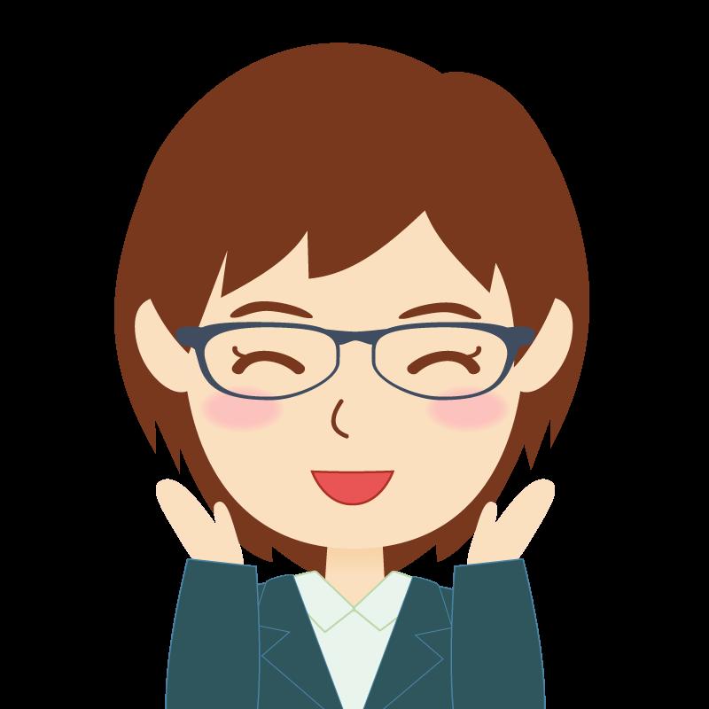 画像:会社員・スーツ・ショート・女性 眼鏡 喜び
