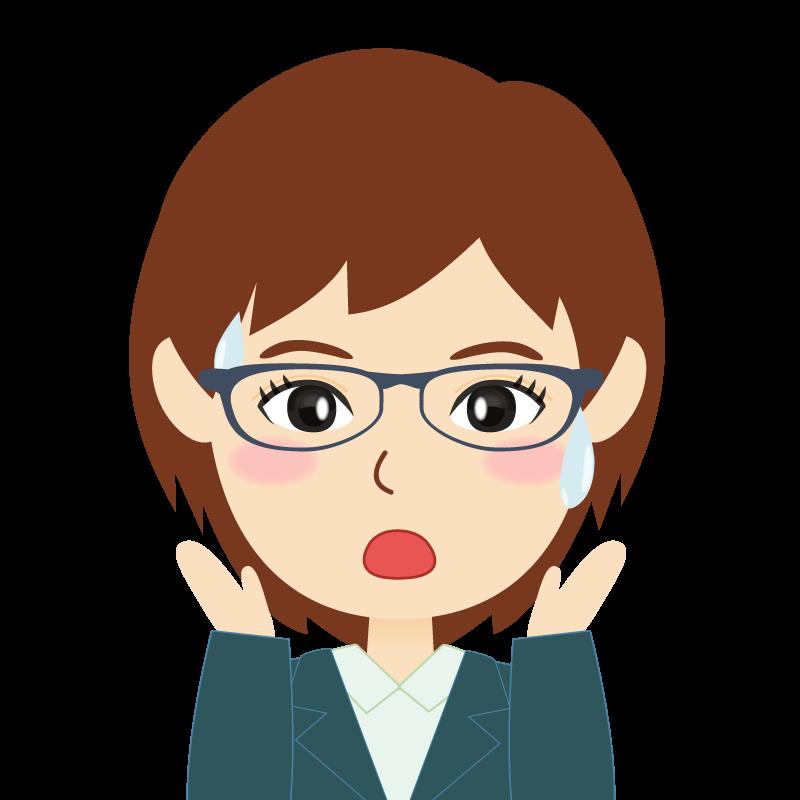 画像:会社員・スーツ・ショート・女性 眼鏡 驚き