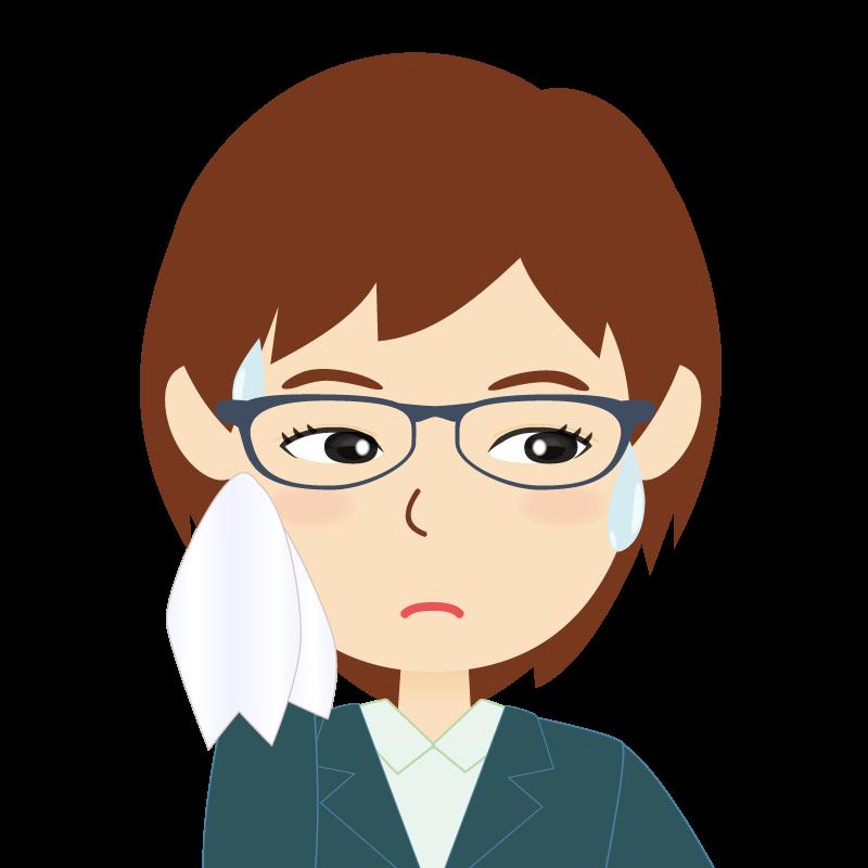 画像:会社員・スーツ・ショート・女性 眼鏡 汗