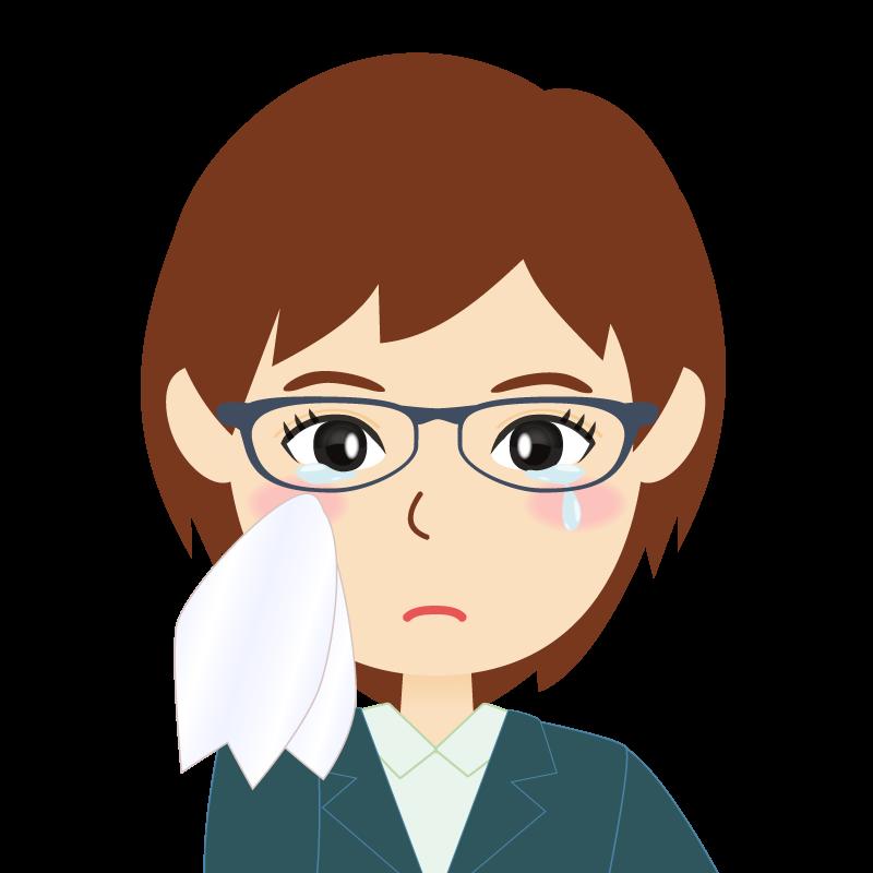 画像:会社員・スーツ・ショート・女性 眼鏡 涙