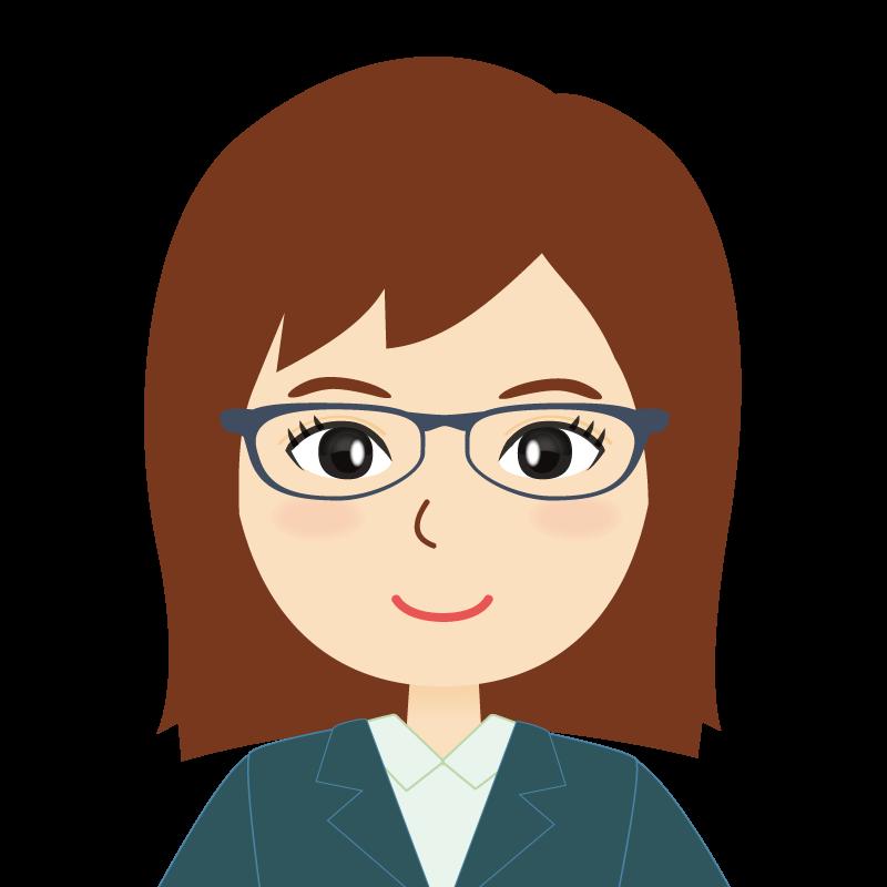 画像:会社員・スーツ・セミロング・女性 眼鏡