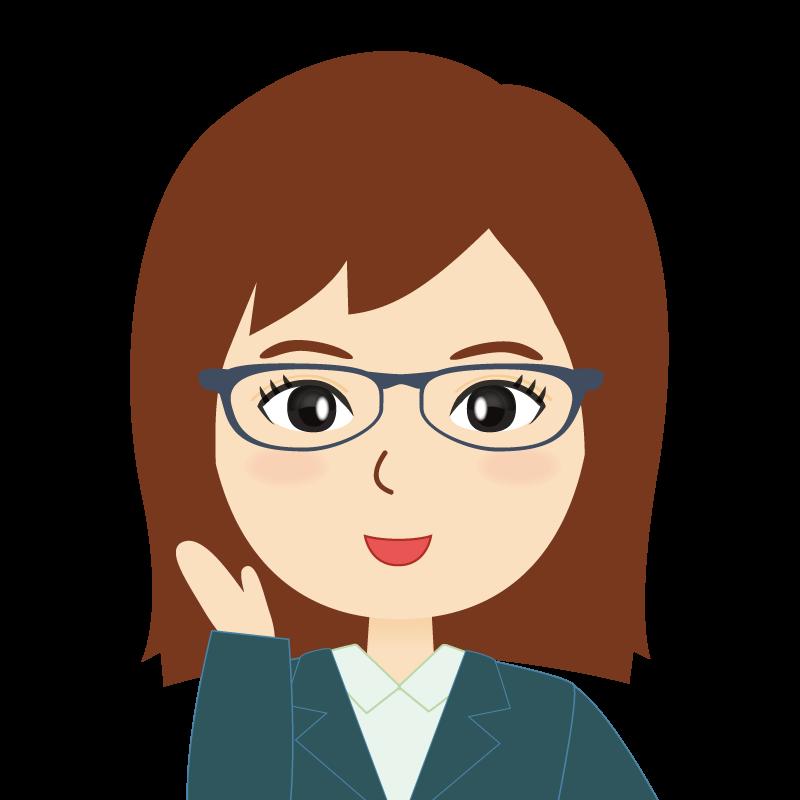 画像:会社員・スーツ・セミロング・女性 眼鏡 笑顔