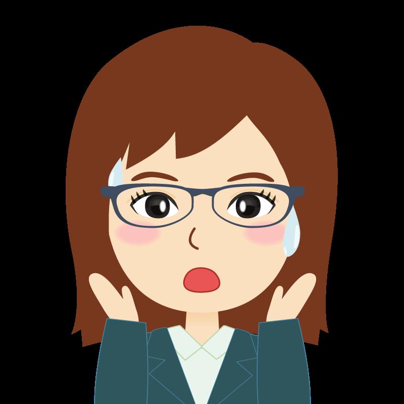画像:会社員・スーツ・セミロング・女性 眼鏡 驚き