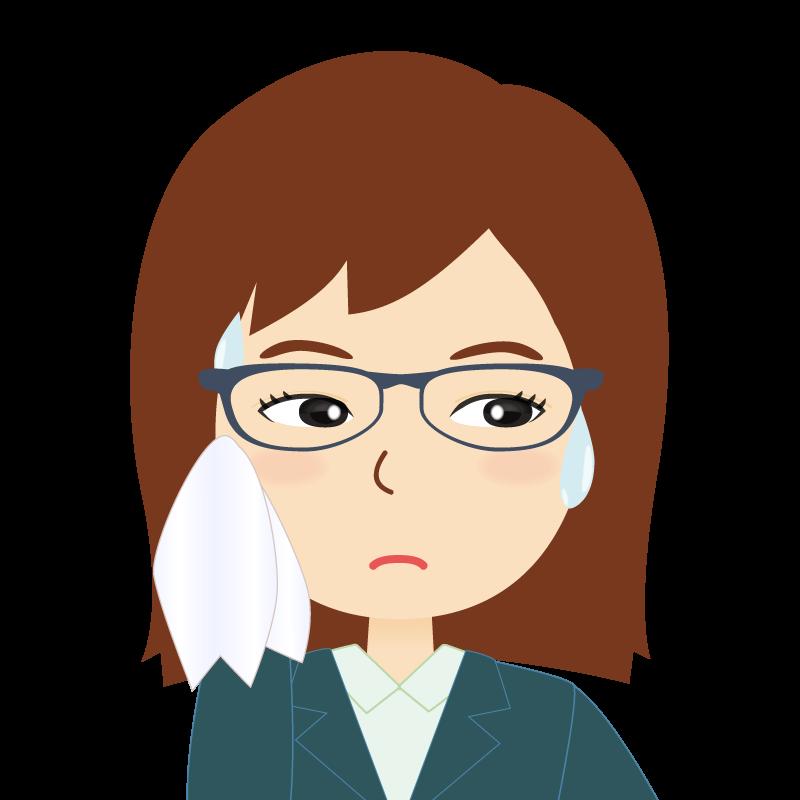 画像:会社員・スーツ・セミロング・女性 眼鏡 汗