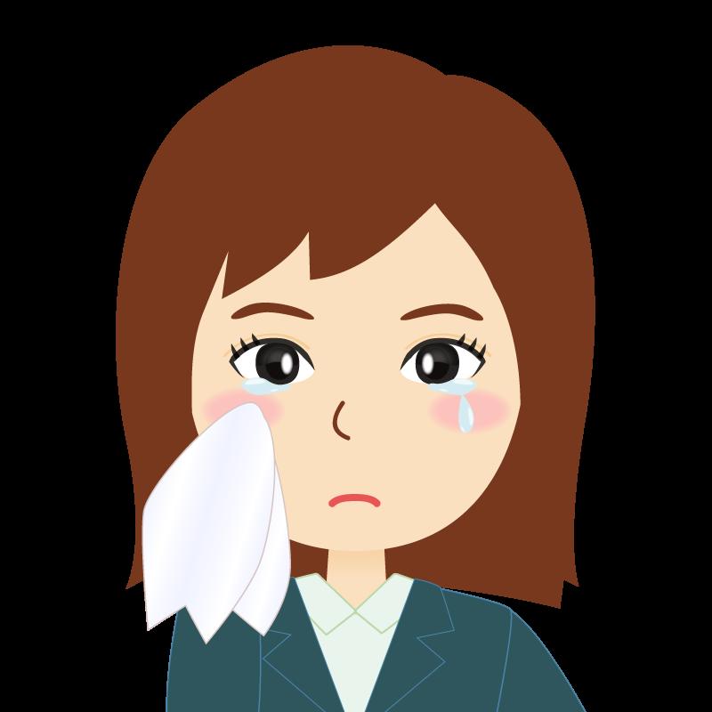 画像:スーツを着たセミロングヘア女性イラスト 涙