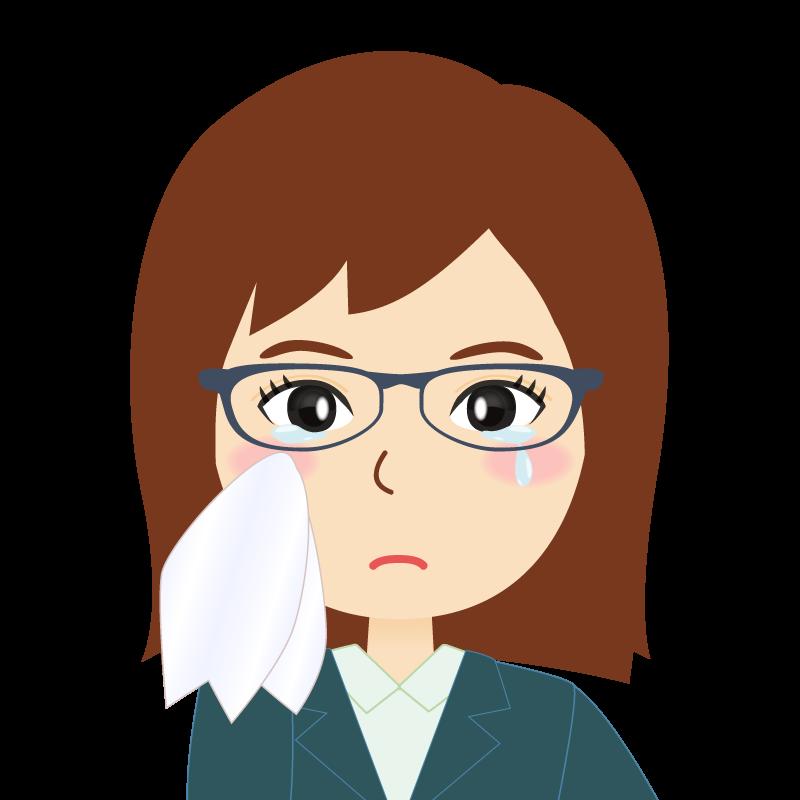 画像:会社員・スーツ・セミロング・女性 眼鏡 涙