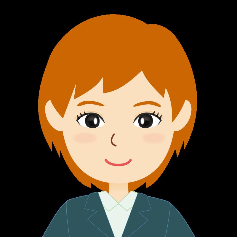 画像:茶髪・会社員・スーツ・ショート・女性