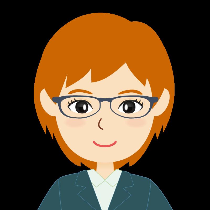 画像:茶髪・会社員・スーツ・ショート・女性 眼鏡