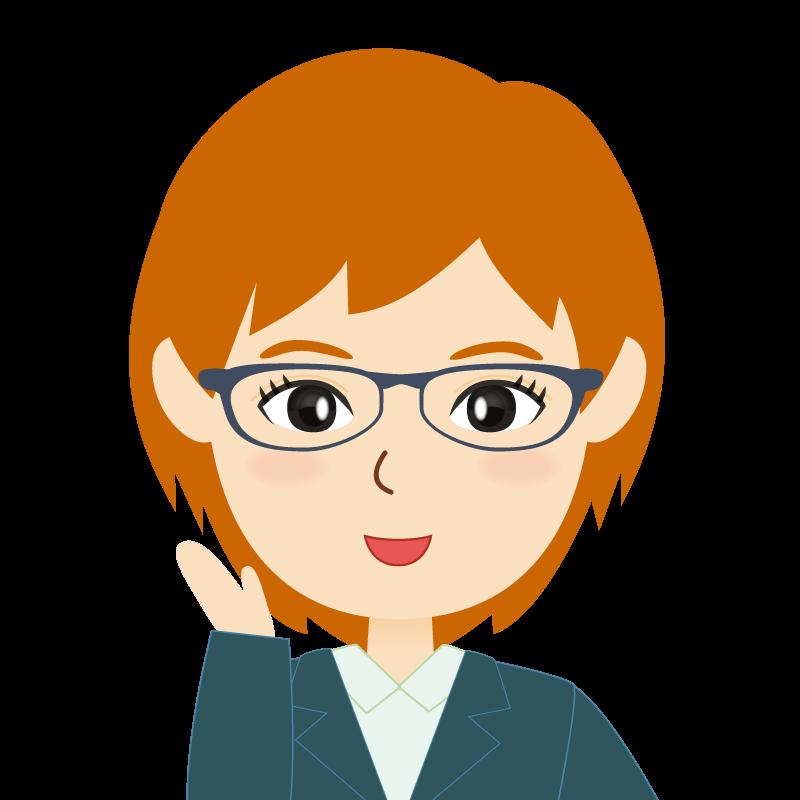 画像:茶髪・会社員・スーツ・ショート・女性 眼鏡 笑顔