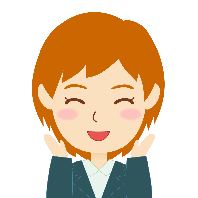 画像:茶髪・会社員・スーツ・ショート・女性 喜び