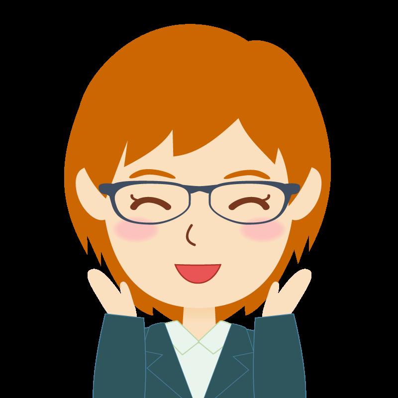 画像:茶髪・会社員・スーツ・ショート・女性 眼鏡 喜び