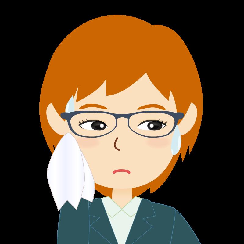 画像:茶髪・会社員・スーツ・ショート・女性 眼鏡 汗