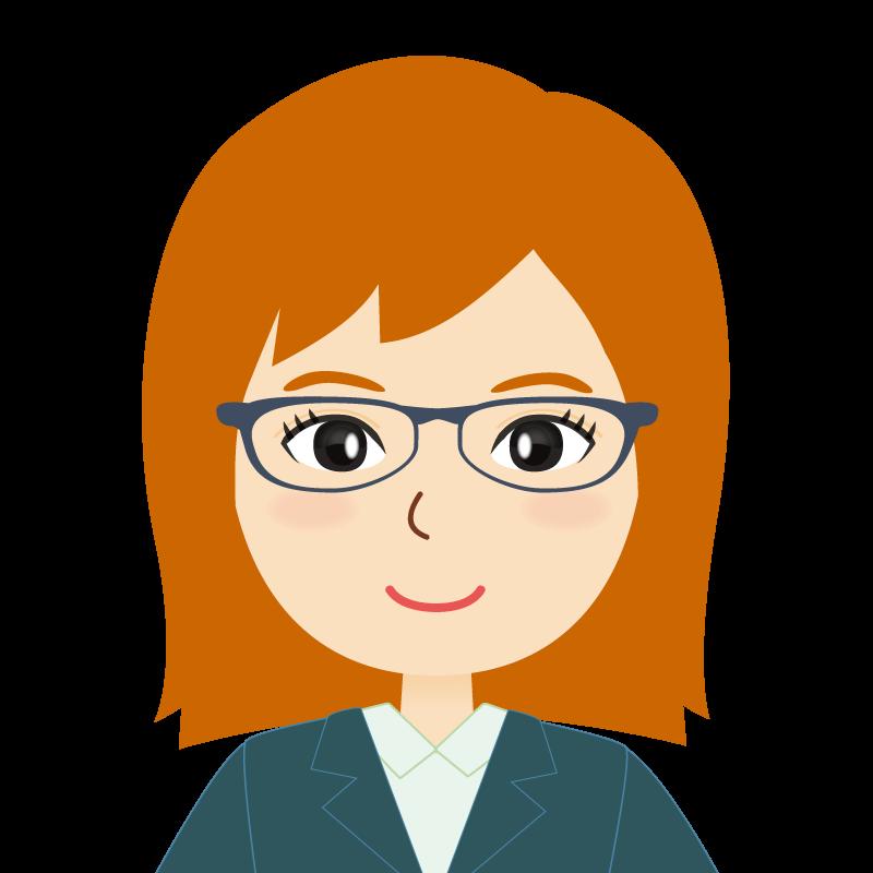 画像:茶髪・会社員・スーツ・セミロング・女性 眼鏡
