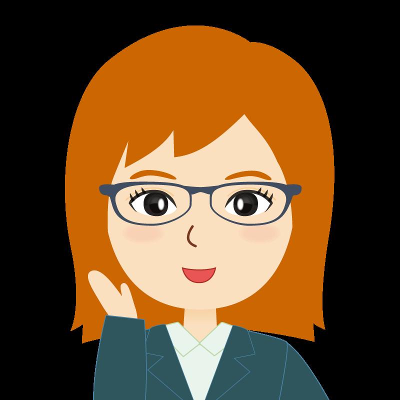 画像:茶髪・会社員・スーツ・セミロング・女性 眼鏡 笑顔