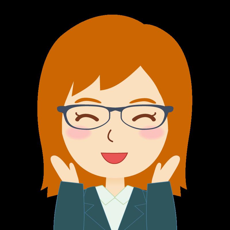 画像:茶髪・会社員・スーツ・セミロング・女性 眼鏡 喜び
