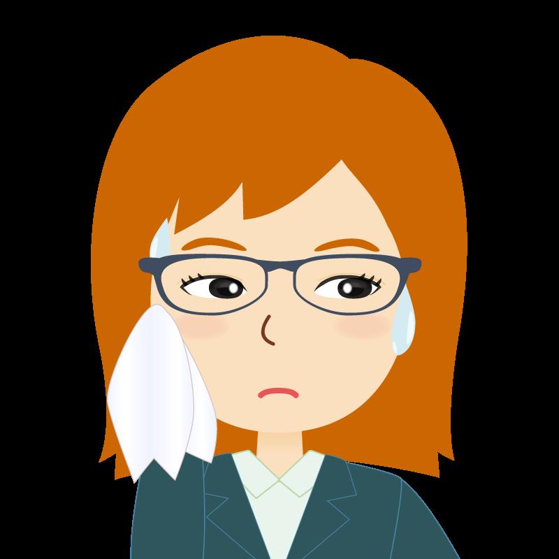 画像:茶髪・会社員・スーツ・セミロング・女性 眼鏡 汗