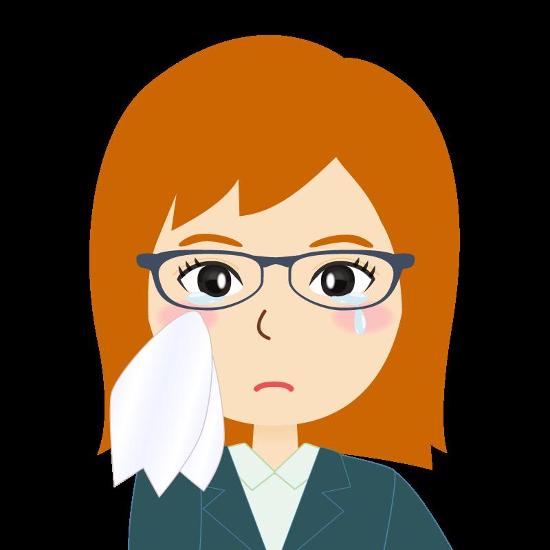 画像:茶髪・会社員・スーツ・セミロング・女性 眼鏡 涙
