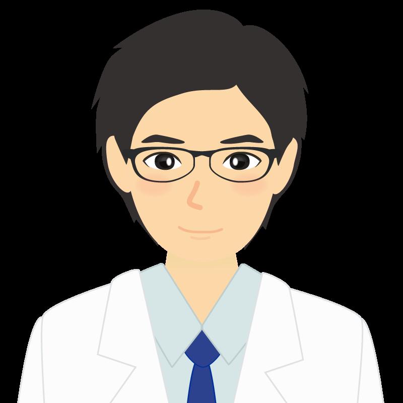 白衣・黒髪の男性・イケメン風イラスト 眼鏡