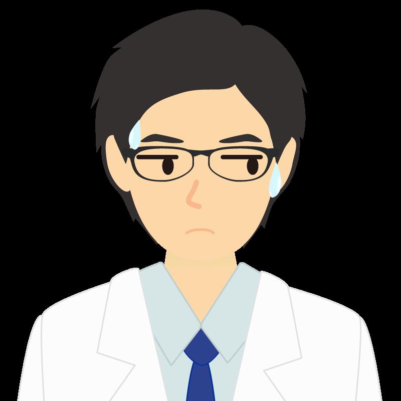 白衣・黒髪の男性・イケメン風イラスト 眼鏡 汗