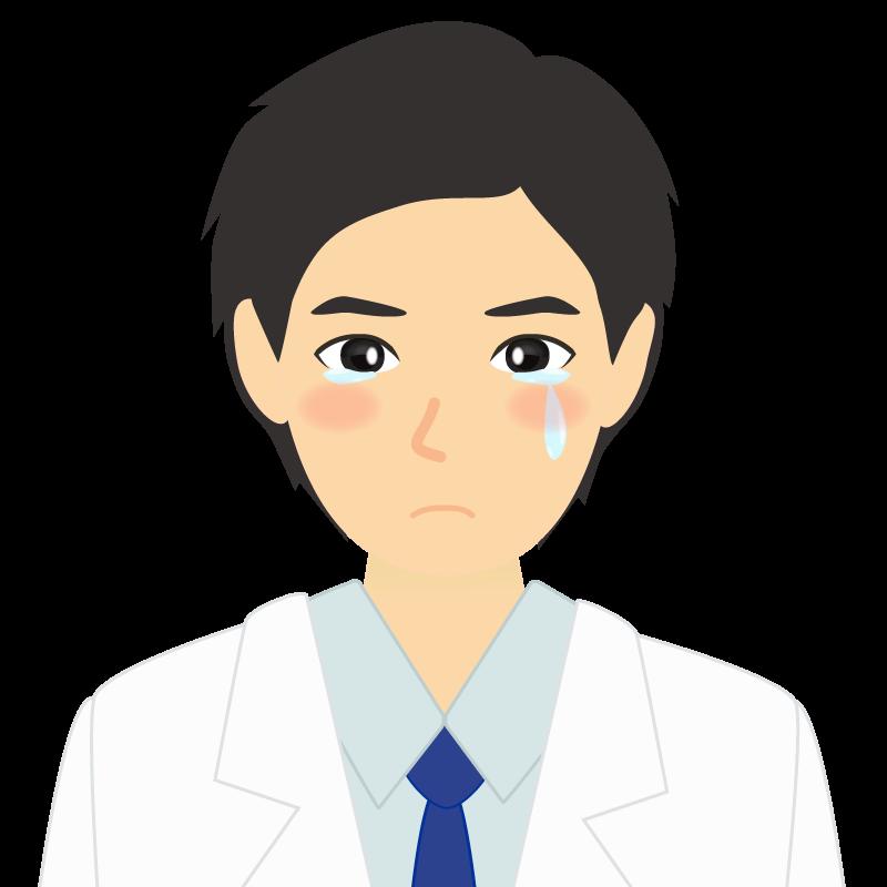 白衣・黒髪の男性・イケメン風イラスト 涙