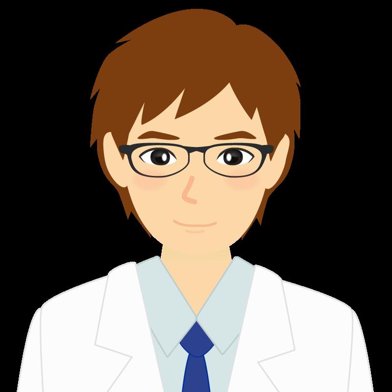 画像:白衣・茶髪の男性・イケメン風イラスト 眼鏡