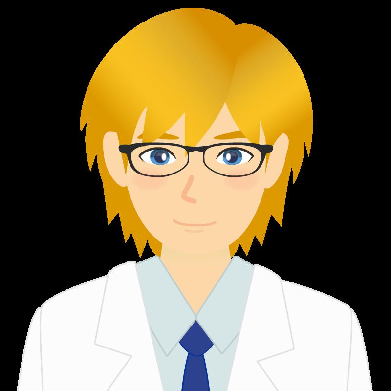 画像:白衣・金髪の男性・イケメン風イラスト 眼鏡