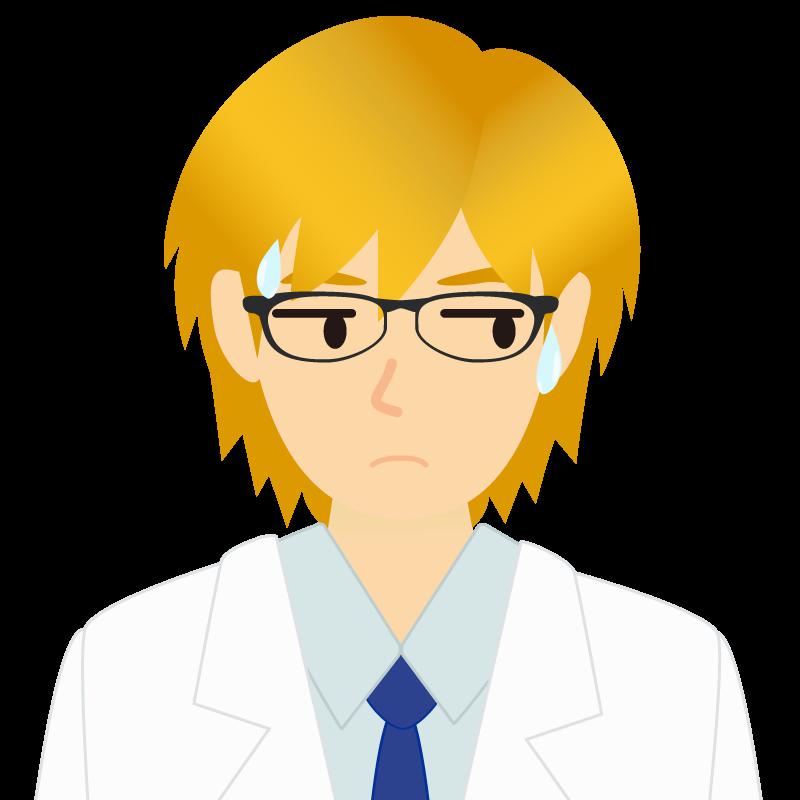画像:白衣・金髪の男性・イケメン風イラスト 眼鏡 汗