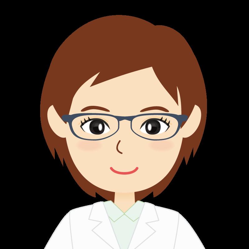 画像:白衣・ショートヘア・女性 眼鏡
