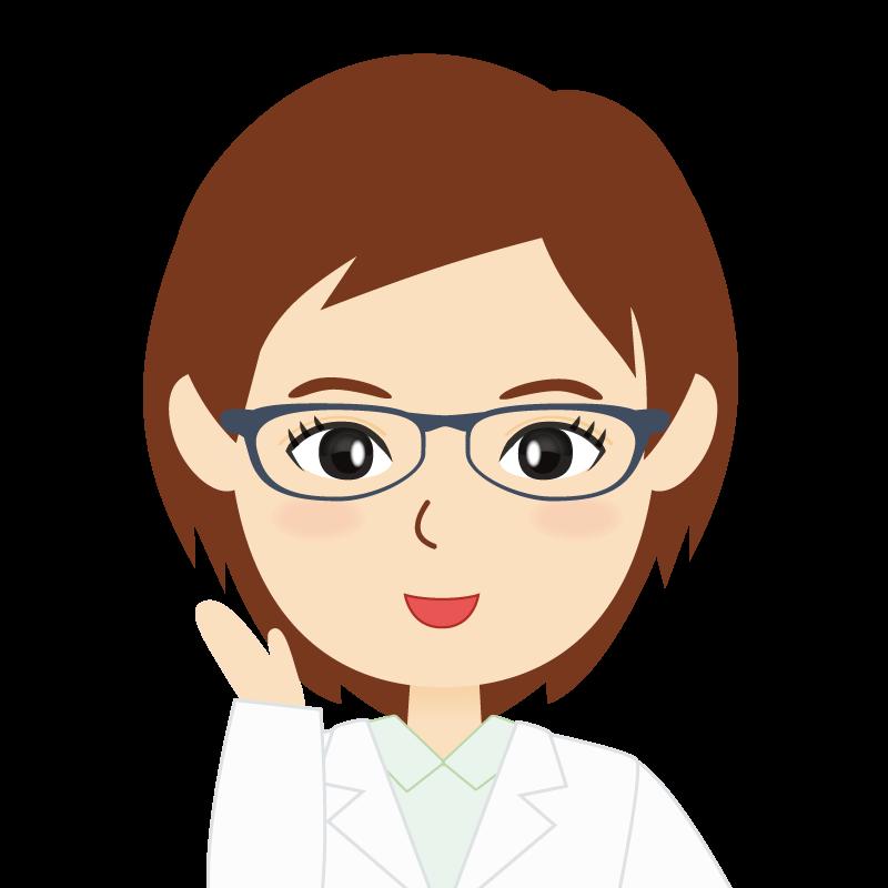 画像:白衣・ショートヘア・女性 眼鏡 笑顔