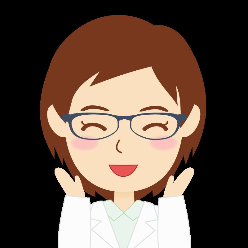 画像:白衣・ショートヘア・女性 眼鏡 喜び