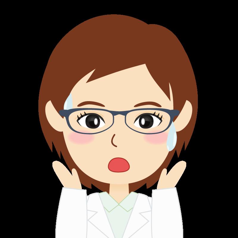 画像:白衣・ショートヘア・女性 眼鏡 驚き