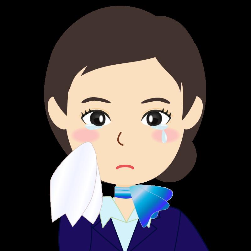 画像:スカーフを巻いた、まとめ髪のキャビンアテンダント風女性のイラスト 涙