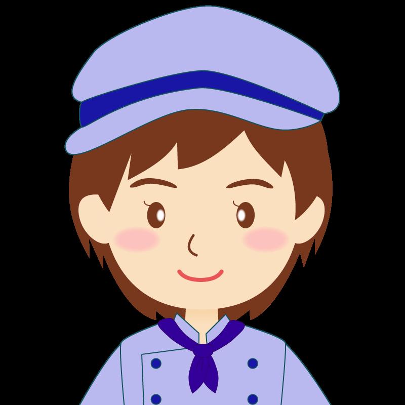 画像:飲食店の青い制服姿の女性イラスト