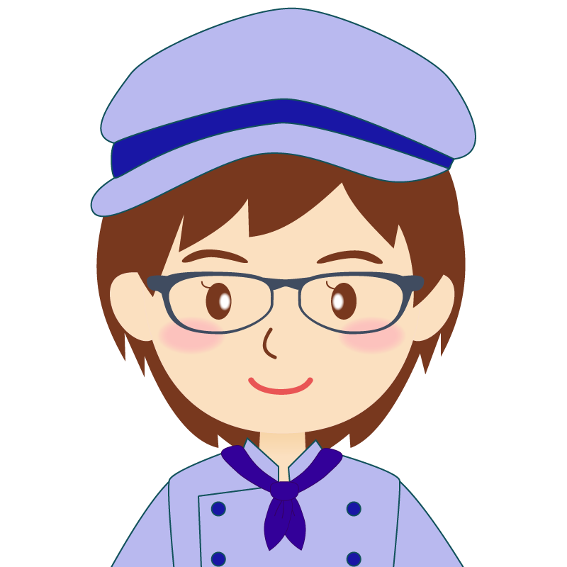 画像:飲食店の青い制服姿の女性イラスト 眼鏡