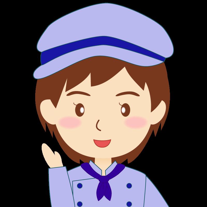 画像:飲食店の青い制服姿の女性イラスト 笑顔