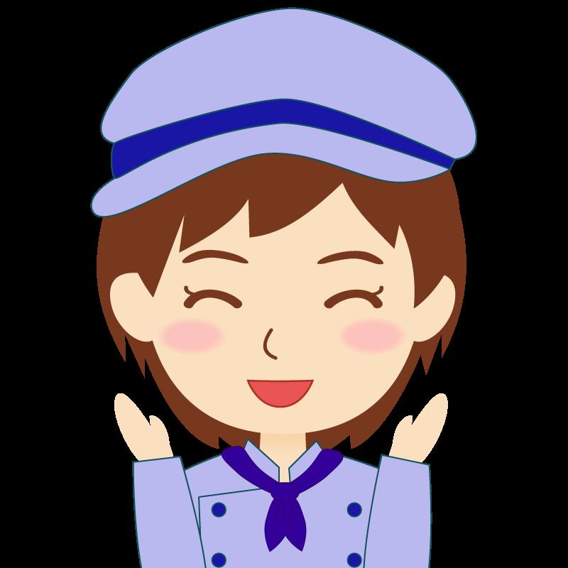 画像:飲食店の青い制服姿の女性イラスト 喜び