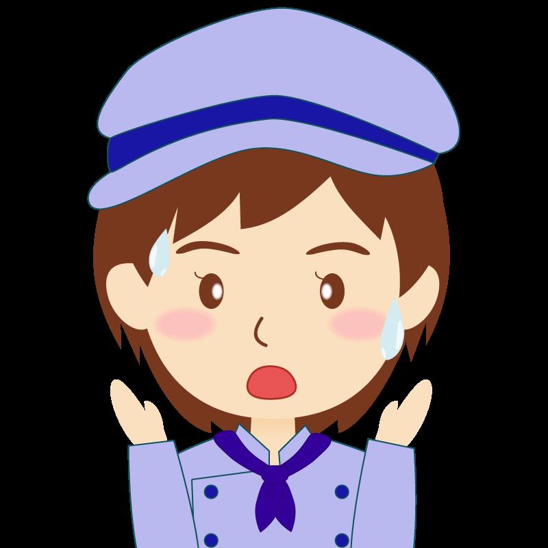 画像:飲食店の青い制服姿の女性イラスト 驚き