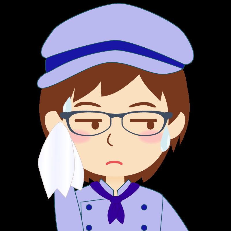 画像:飲食店の青い制服姿の女性イラスト 眼鏡 汗