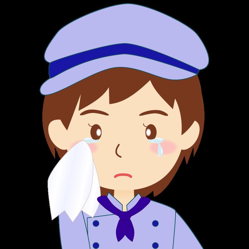 画像:飲食店の青い制服姿の女性イラスト 涙