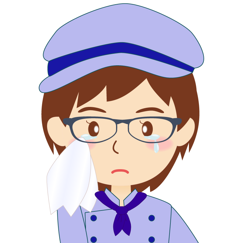 画像:飲食店の青い制服姿の女性イラスト 眼鏡 涙