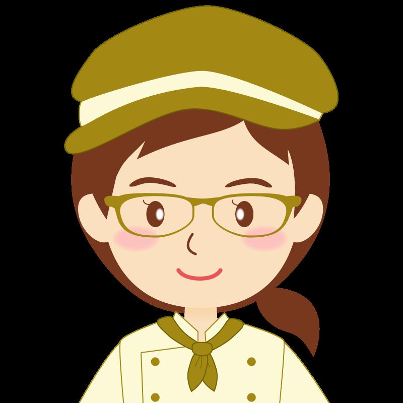 画像:飲食店の黄土色の制服姿の女性イラスト 眼鏡