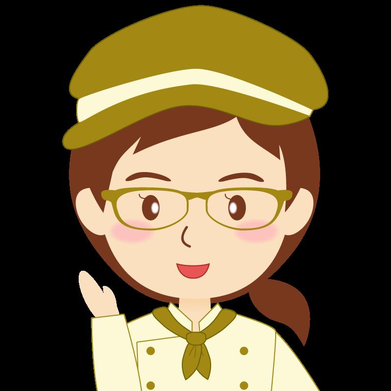 画像:飲食店の黄土色の制服姿の女性イラスト 眼鏡 笑顔