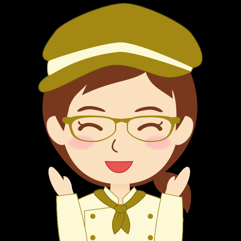 画像:飲食店の黄土色の制服姿の女性イラスト 眼鏡 喜び