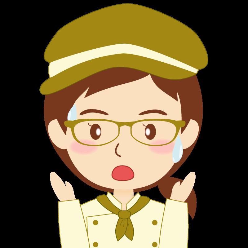画像:飲食店の黄土色の制服姿の女性イラスト 眼鏡 驚き