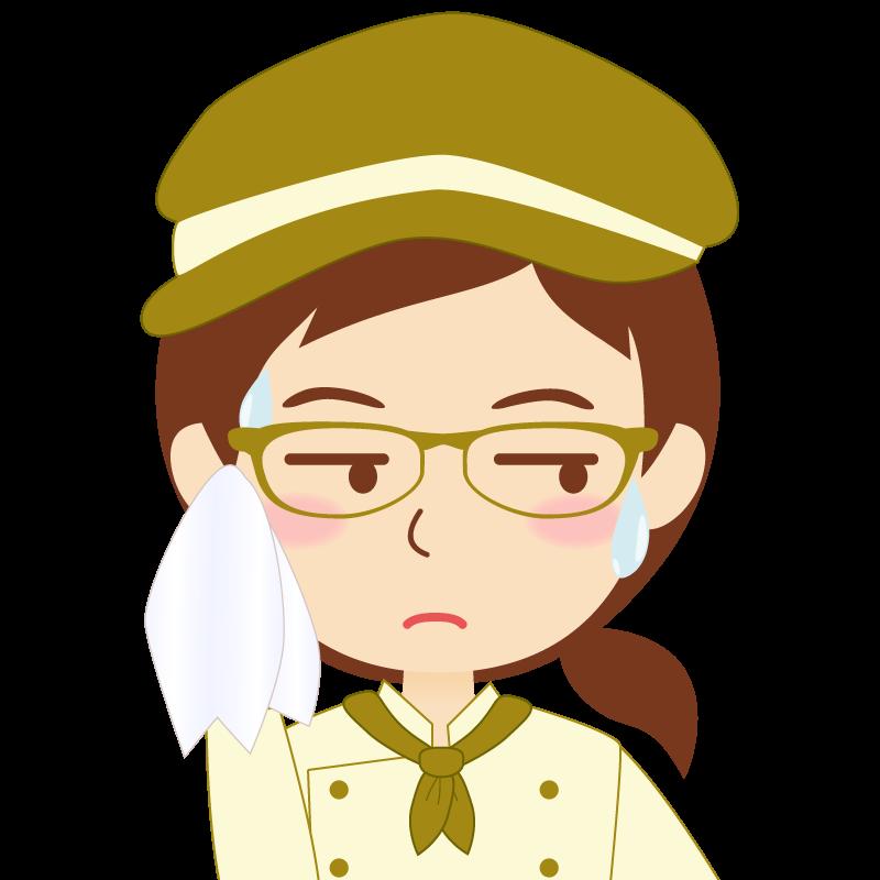 画像:飲食店の黄土色の制服姿の女性イラスト 眼鏡 汗