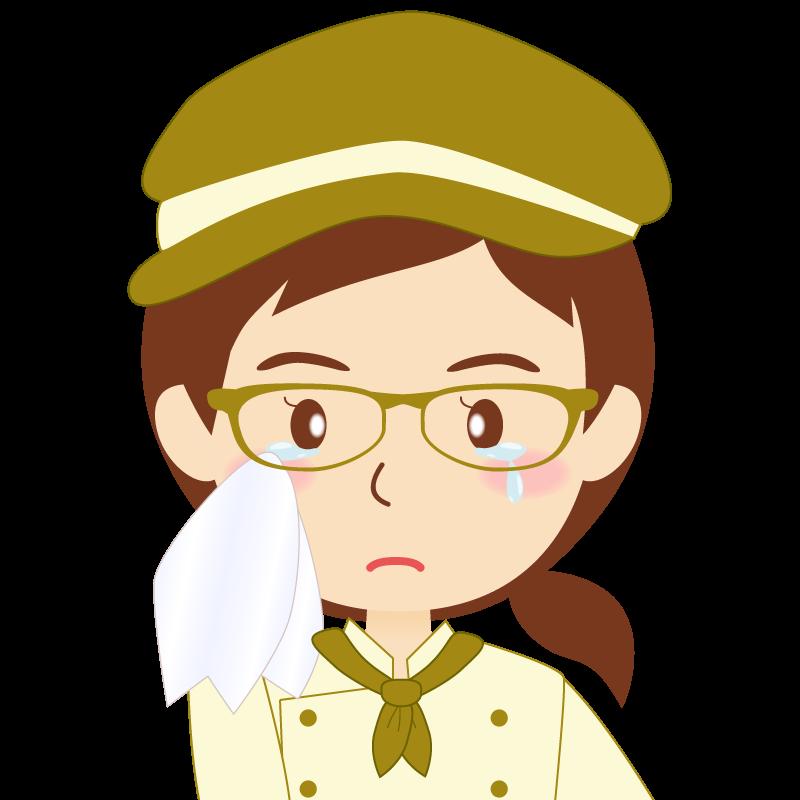 画像:飲食店の黄土色の制服姿の女性イラスト 眼鏡 涙