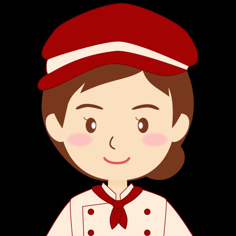 画像:飲食店の赤色の制服姿の女性イラスト
